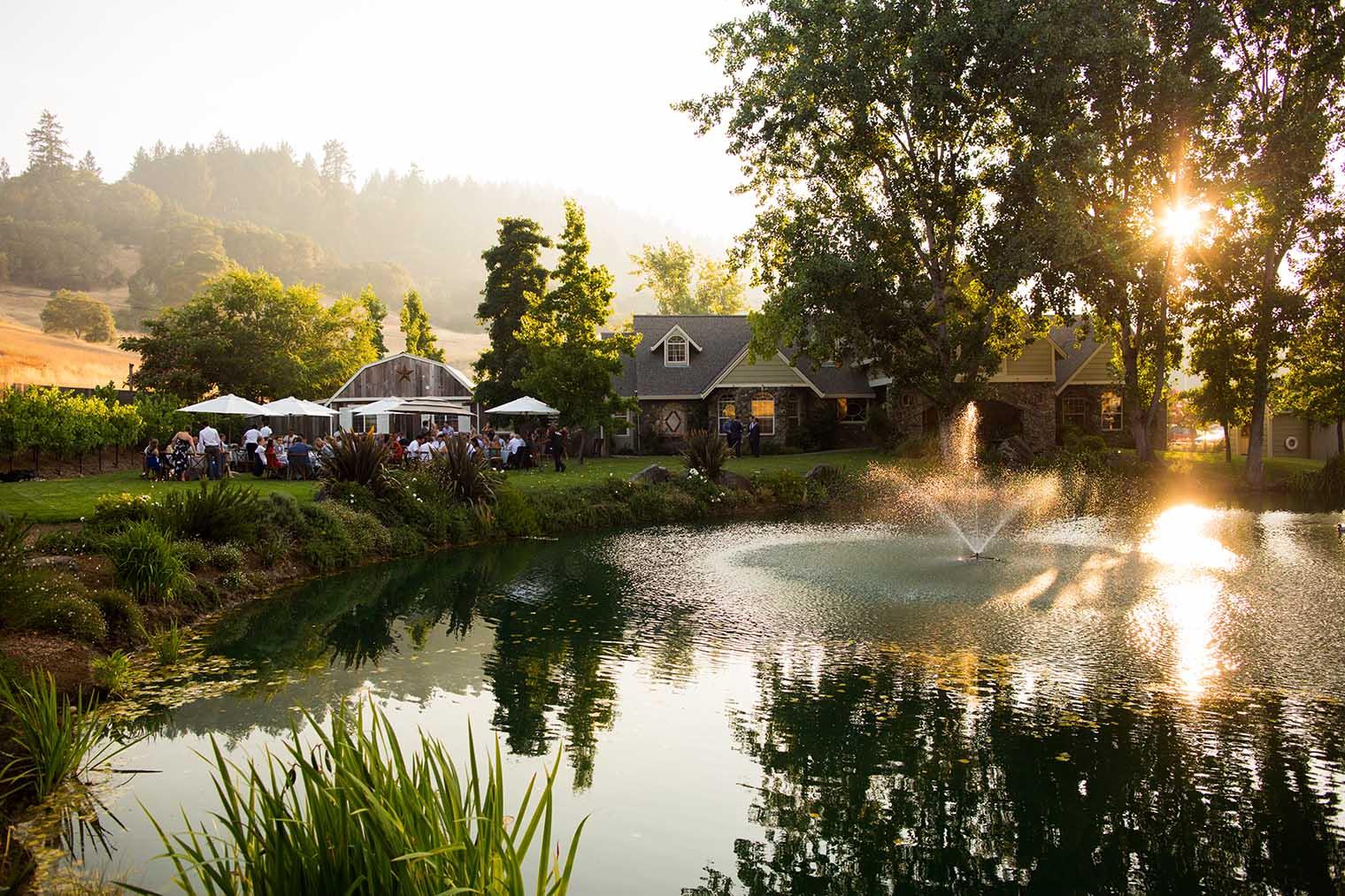 Mountain House Estate Wedding Venue at Sunset