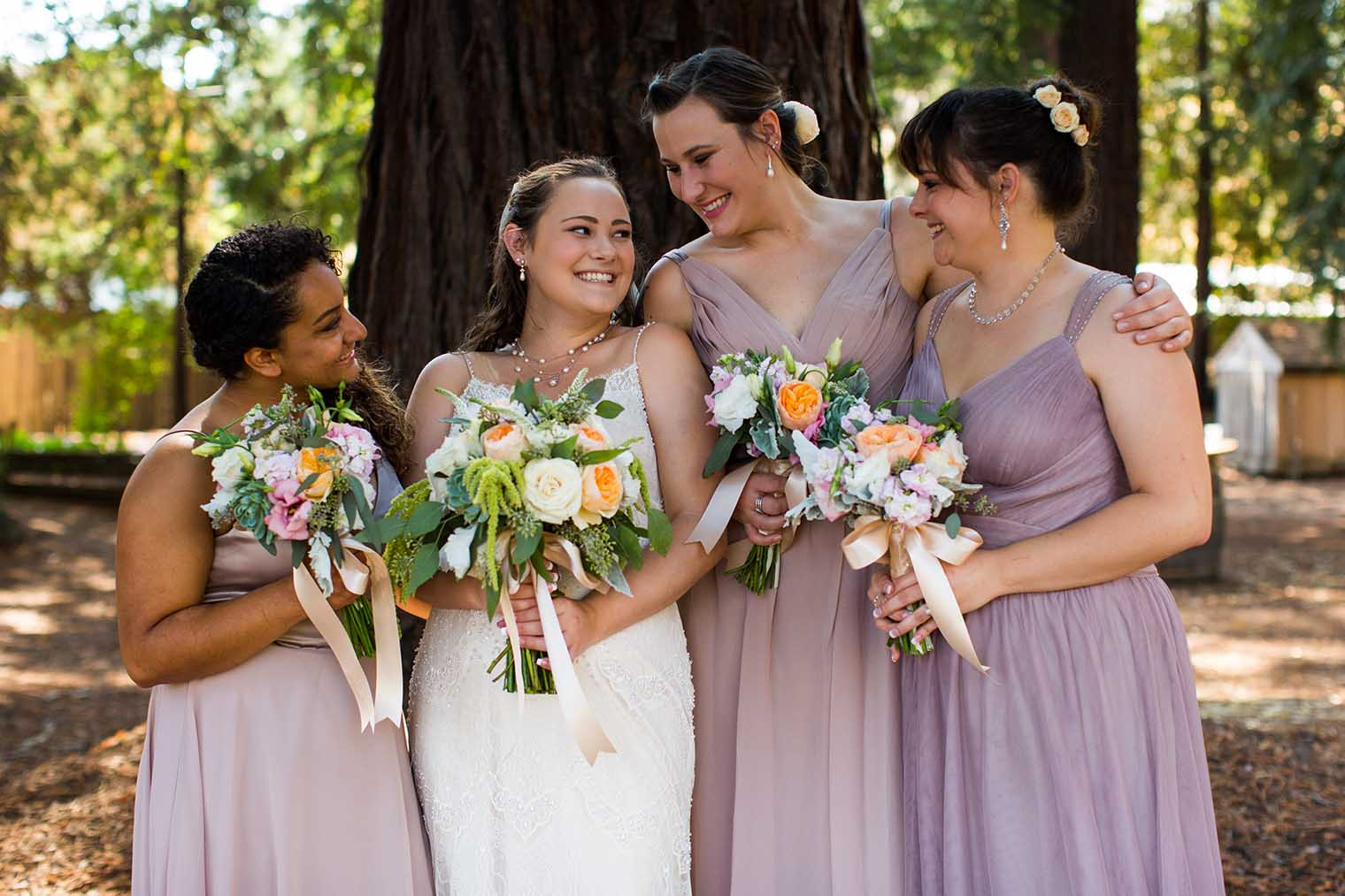 Bride and Bridesmaids at Nelson Family Vineyards