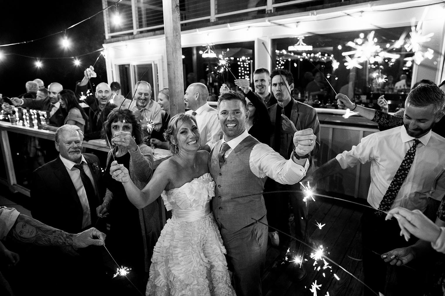 sparklers at heritage house resort wedding